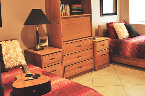 bedroom with guitar