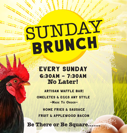 Sunday Brunch menu with sun graphic and rooster